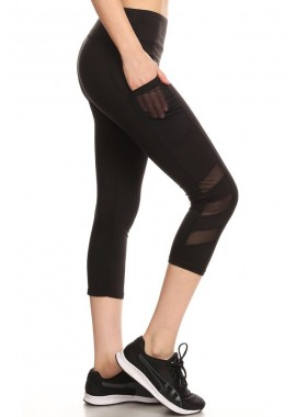 Wholesale Womens Sports Capri Leggings With Side Pockets and Mesh Panels