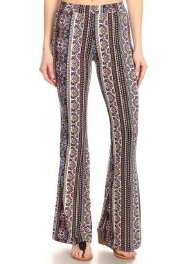 Wholesale Womens Soft Brushed Printed Flare Pants