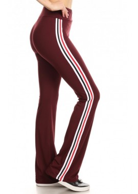 Wholesale Womens Flare Sports Pants With Side Striped Tape