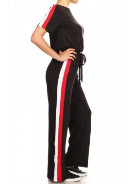 Wholesale Womens Side Contrast Short Sleeves Jumpsuit With Waist Tie