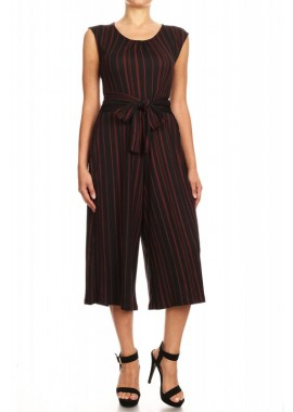 Wholesale Womens Cropped Wide Leg Jumpsuits With Sash Tie