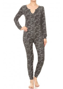 Wholesale Womens Fleece Lined Button Up Onesie Jumpsuits