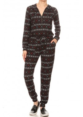 Wholesale Womens Sweater Knit Hoodie Onesie Jumpsuits