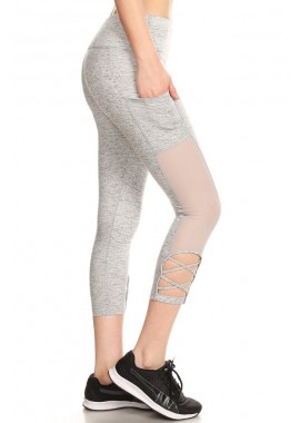 Wholesale Womens Ultimate Tummy Control Sports Leggings With Pocket & Strap Details