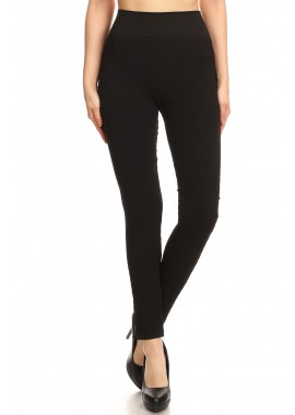 Wholesale Womens Honeycomb Texture  Leggings With Side Rib Panels