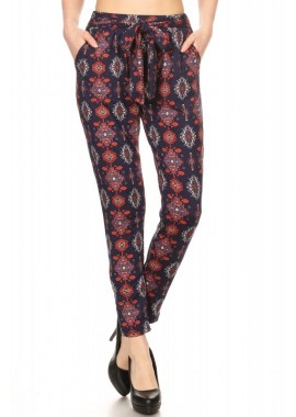 Wholesale Womens Soft Brush Semi Harem Pants With Front Self Tie