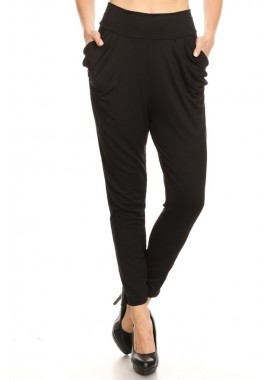 Wholesale Womens Soft Brushed High Waisted Semi Harem Pants With Pockets