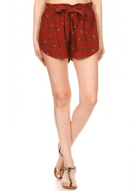 Wholesale Womens Paperbag Shorts With Waist Tie Sash