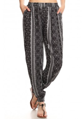 Wholesale Womens Printed Loose Fit Harem Jogger Pants