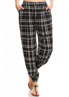 Wholesale Womens Plaid Printed Harem Jogger Pants
