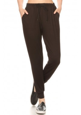 Wholesale Womens Solid Joggers Sweatpants With Shoe Lace Tie