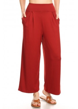 Wholesale Womens High Waist Cropped Palazzo Wide Leg Pants With Pockets