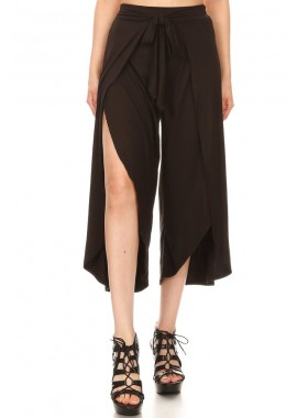 Wholesale Womens Soft Brush Cropped Palazzo Wrap Culottes