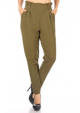 Wholesale Womens Textured Knit Paperbag Waist Pleat Pants With Button Waist Detail