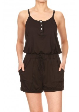 Wholesale Womens Cami Button Up Rompers