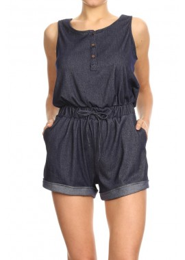 Wholesale Womens Denim Fold Back Cuff Tank Rompers
