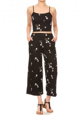 Wholesale Womens 2-Piece Set Cropped Cami Top & Straight Leg Pants