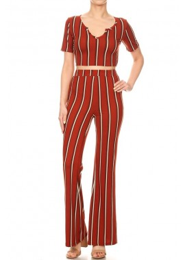 Wholesale Womens 2-Piece Set V-Neck Crop Tops With Flare Pants