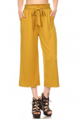 Wholesale Womens Cropped Paperbag Waist Loose Fit Straight Leg Pants