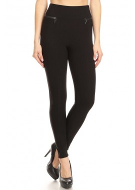 Wholesale Womens High Waist Sculpting Treggings Skinny Pants With Front Zipper Detail