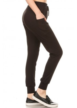 Wholesale Womens Plus Size Soft Brushed Joggers Sweatpants With Side Panel Pockets