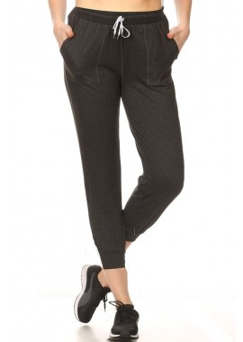 Wholesale Womens Cropped Joggers Sweatpants With Drawstring Waist & Pockets