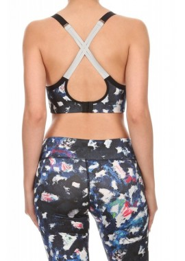 Wholesale Womens Printed Active Sports Bras Tops with Reflective Straps