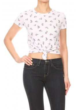Wholesale Womens Short Sleeve Printed Front Tie-Up Crop Tops