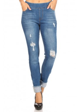 Wholesale Womens Distressed Skinny Denim Jeans jeggings Pants With Rolled Up Frayed Hem