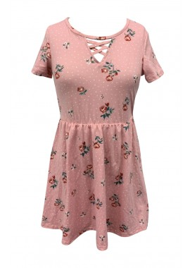 Wholesale Kids Soft Brushed Short Sleeve Dresses With Cross Straps V-Neck