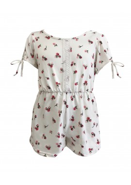 Wholesale Kids Soft Brushed Rompers With Short Sleeves & Front Crochet Lace Detail