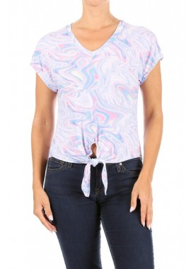 Wholesale Womens Short Sleeve Crop Tops With Front Tie