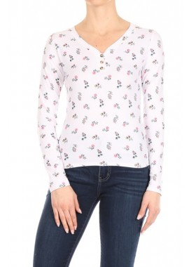 Wholesale Womens Long Sleeve V-Neck Tops With Button Down Front Detail