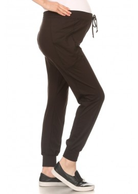 Wholesale Womens Soft Brushed Fleece Lined Maternity Joggers Sweatpants