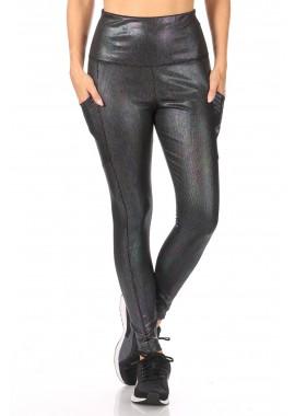 Wholesale Womens Shiny Heat Seal Print High Waist Tummy Control Sports Leggings With Pockets