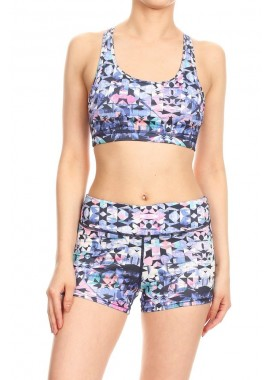 Wholesale Womens 2 Pieces Activewear Printed Set