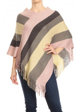 Wholesale Womens Pullover Poncho Sweaters With Asymmetric Hem & Fringe Detail