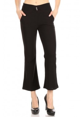 Wholesale Womens Cropped Flare Pants With Buckle Waist Detail