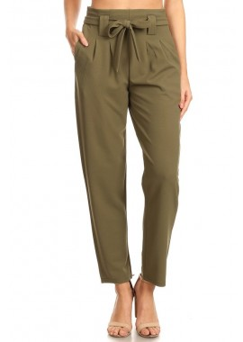 Wholesale Womens Paperbag Waist Pants With Waist Tie