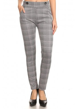 Wholesale Womens Skinny Plaid Pants With Pockets & Button Waist Detail