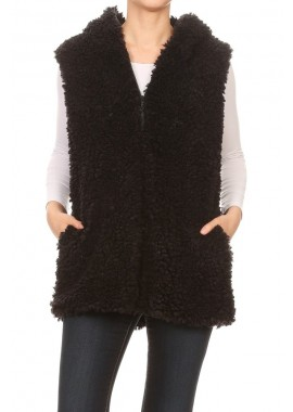 Wholesale Womens Faux Fur Plush Zip-Up Hoodie Vests