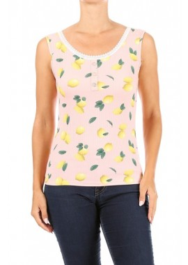 Wholesale Womens Rib Knit Tank Tops With Lace Trim & Front Button Detail