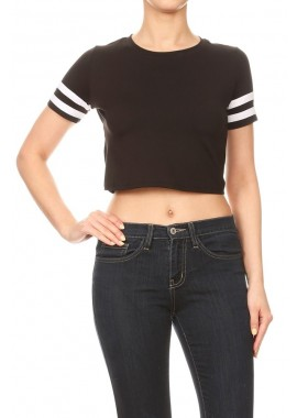 Wholesale Womens Solid Crop Tops With Striped Short Sleeves