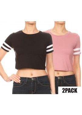 Wholesale Womens 2 Packs Bundle:Solid Crop Tops With Striped Short Sleeves Black + Mauve