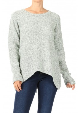 Wholesale Womens Oversized Pullover Textured Knit Sweaters With High Low Hem And Back Slit
