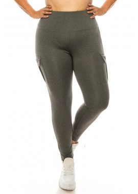 Wholesale Womens Plus Size Tummy Control Sports Leggings With Side Cargo Pockets