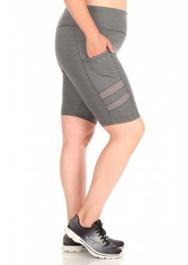 Wholesale Womens Plus Size High Waist Tummy Control Biker Shorts With Side Mesh Panels & Pockets