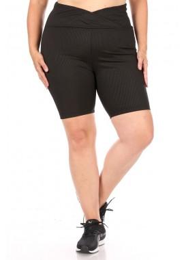 Wholesale Womens Plus Size Rib Knit Overlap Waist Biker Shorts