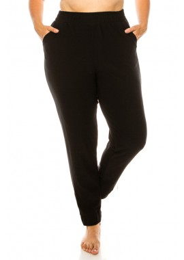 Wholesale Womens Plus Size Shirred Waist & Cuff Jogger Pants With Pockets