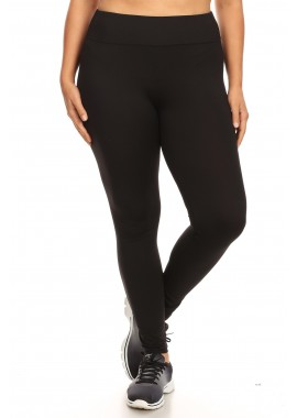 Wholesale Womens Plus Size Solid High Waist Sports Leggings